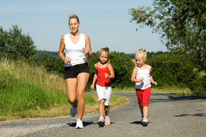 active mom, mom running with daughters