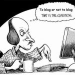 person blogging