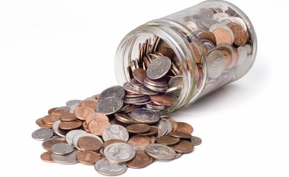loose change in a jar