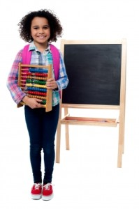 young student with abacus