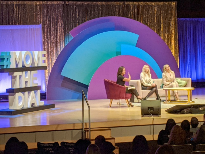 Kris Reyes, Reporter at ABC News, moderator - chats with Erin and Sara Foster, Co-Heads of Creative at Bumble. Topic: Building Technology and a Brand Voice