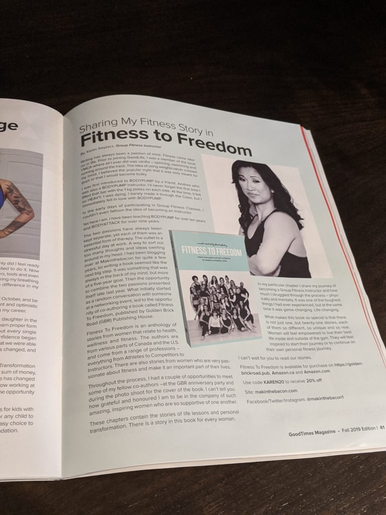 Fitness To Freedom Article Feature in November 2019 of GoodTimes Magazine By GoodLife