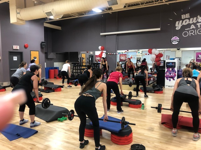 Photo of Fitness To Freedom Co Author Karen Swyszcz team teaching Body Pump at Goodlife